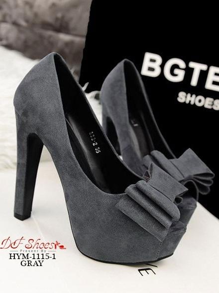 รองเท้าส้นสูง ผ้าสักหราด ประดับโบว์ (สีเทา )