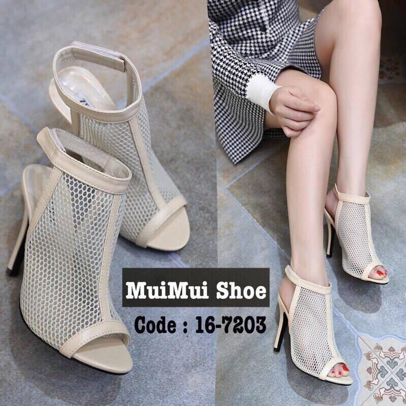 รองเท้าส้นสูงรัดข้อ ผ้าตาข่าย สไตล์เกาหลี (สีครีม )