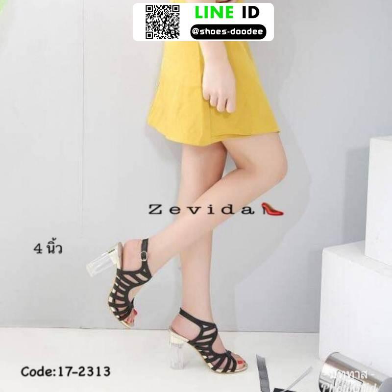 รองเท้าส้นแก้วใส สไตล์เกาหลี 17-2313-BLK [สีดำ]