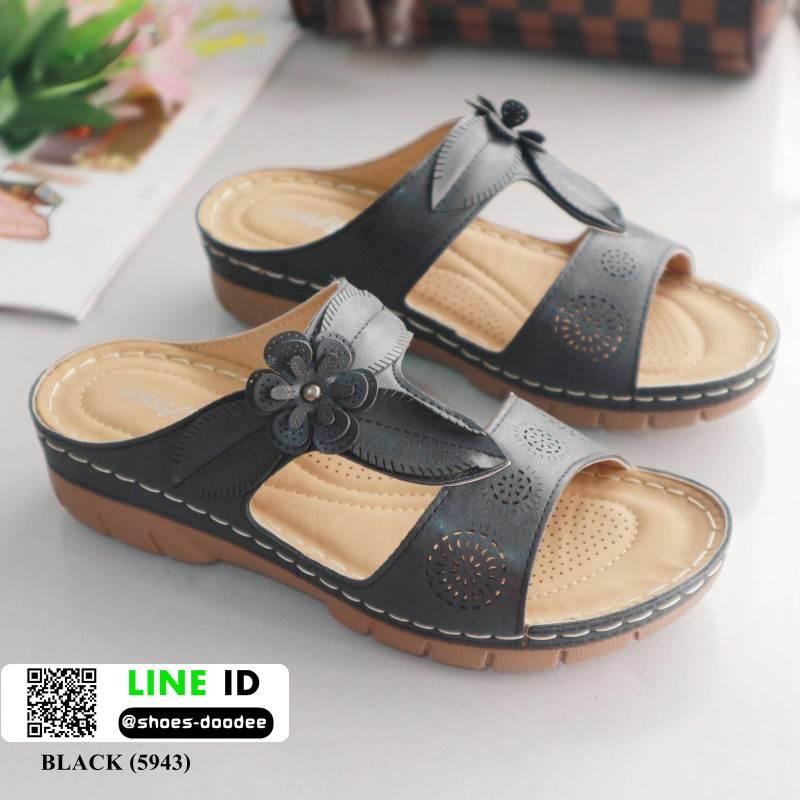รองเท้าแตะ สไตล์วินเทจ 5943-BLACK [สีดำ]