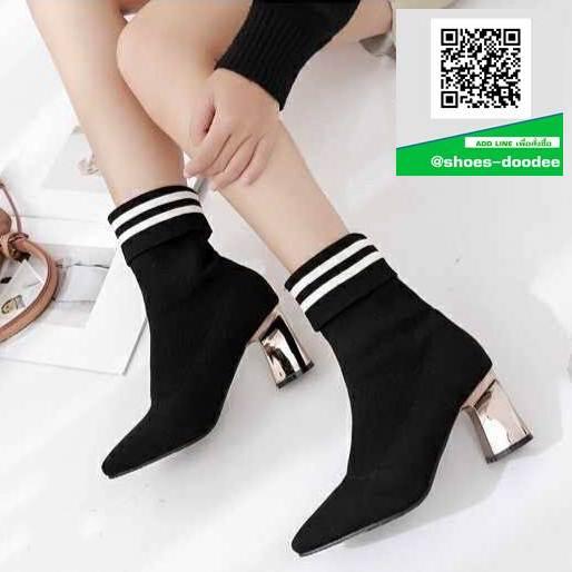 รองเท้าบูททรงสูงสีดำ กันหนาว (สีดำ )
