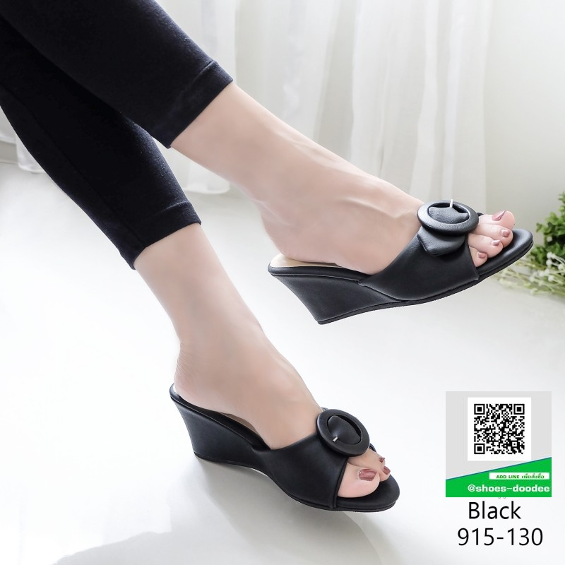 รองเท้าลำลองส้นเตารีดแบบสวม 915-130-ดำ [สีดำ]