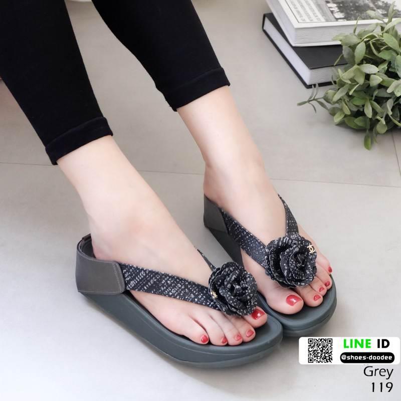 รองเท้าสุขภาพสไตล์ฟิทฟลอบ แต่งดอกคามิเลีย 119-เทา [สีเทา]