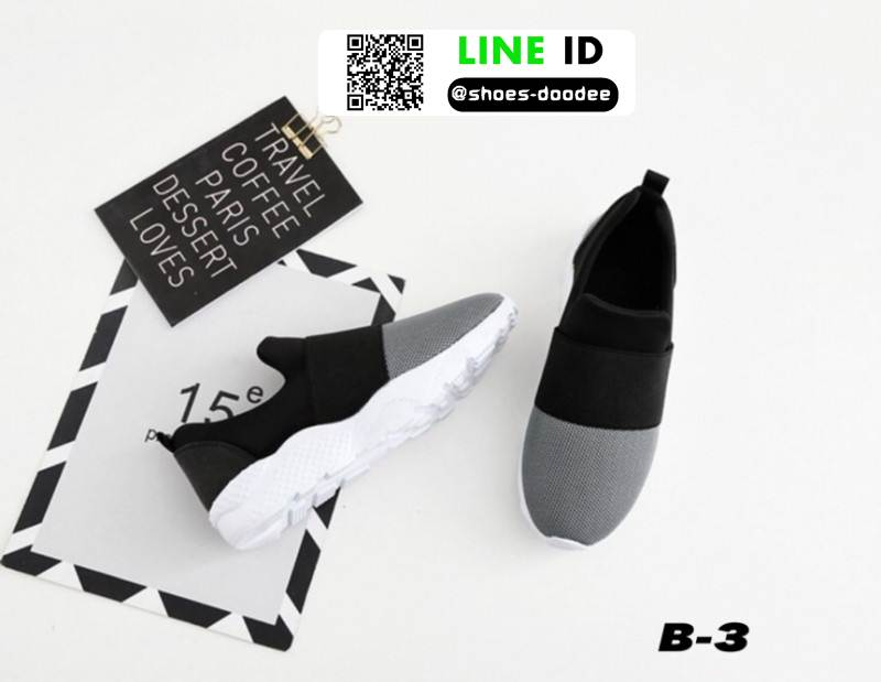 รองเท้าผ้าใบแบบสวมไรเชือก แต่งสีทูโทน B-3-BLK [สีดำ]
