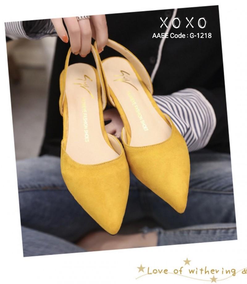 รองเท้าส้นเตี้ยรัดส้น ส้นตอก ยางยืดหลัง 1218-YEL [สีเหลือง]