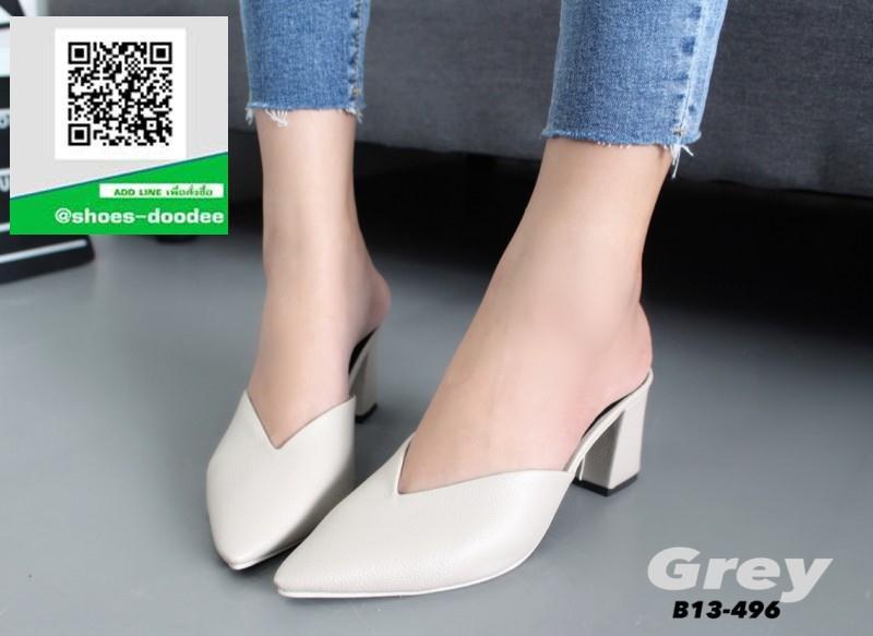 รองเท้าส้นตันสีเทา หัวแหลม หน้าวี (สีเทา )