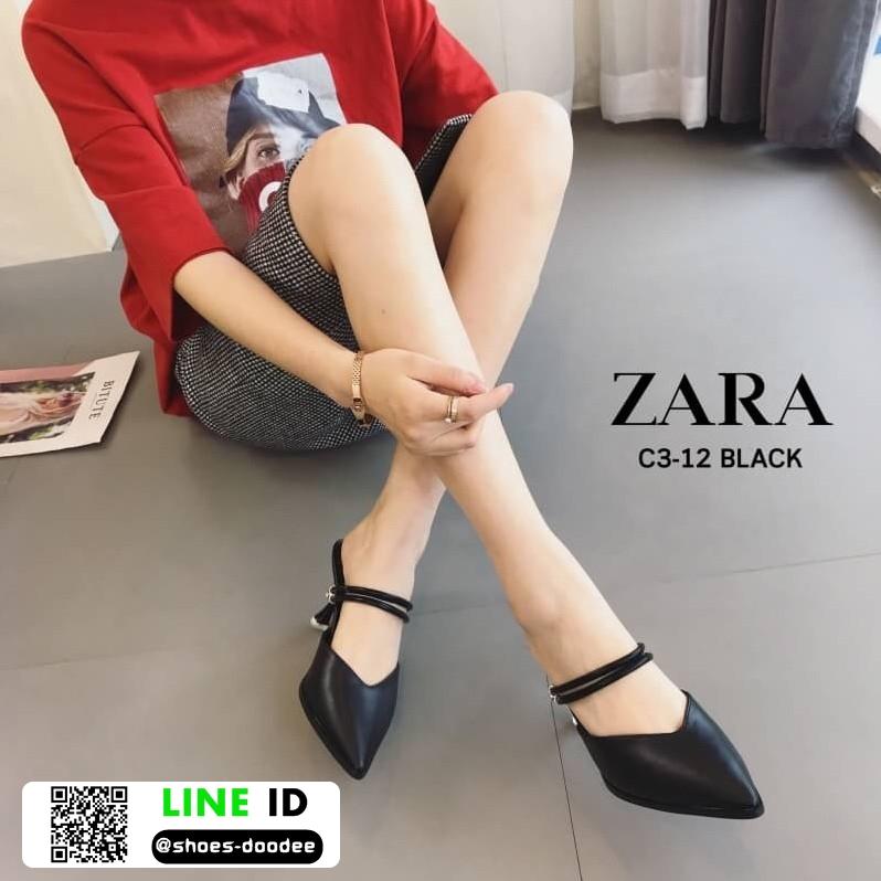 รองเท้าเปิดส้น Zara style หัวแหลม C3-12-BLK [สีดำ]