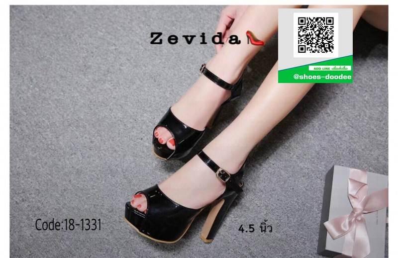 รองเท้าส้นสูงรัดข้อเปิดหน้าหลัง 18-1331-BLK [สีดำ]