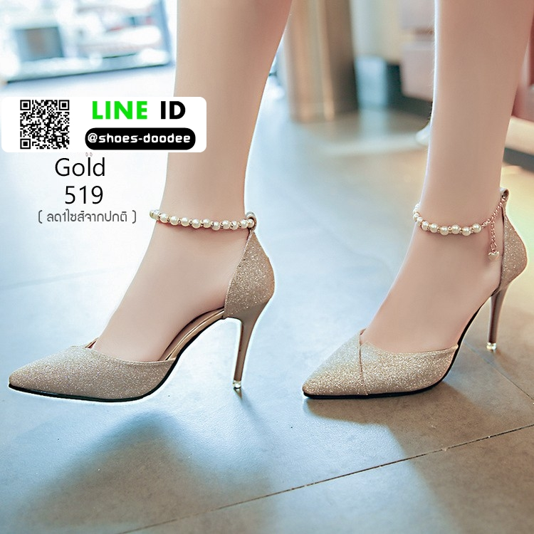 รองเท้าส้นสูงแบบหัวแหลม แต่งกลิตเตอร์ 519-ทอง [สีทอง]