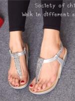 รองเท้าลำลองรัดส้น แบบคีบ (สีเงิน )