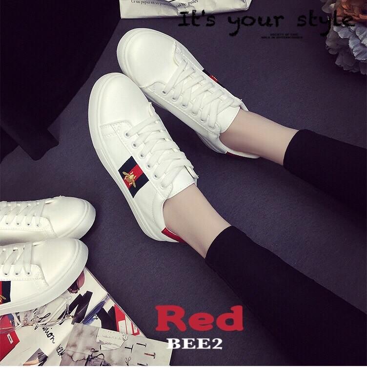รองเท้าผ้าใบแฟชั่นสีแดง แถบสีแดง สไตล์ Gucci (สีแดง )