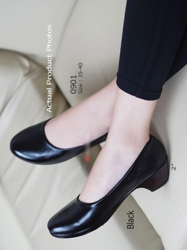 รองเท้าคัทชูส้นเตี้ย หัวมน ทรงสุภาพ (สีดำ )