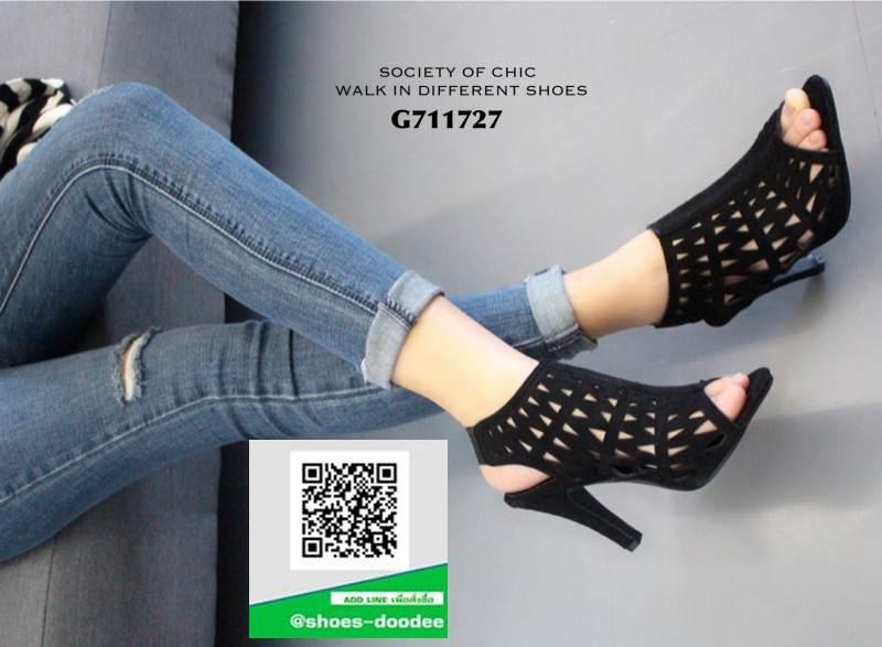 รองเท้าส้นสูง ฉลุลาย G711727-BLK [สีดำ]