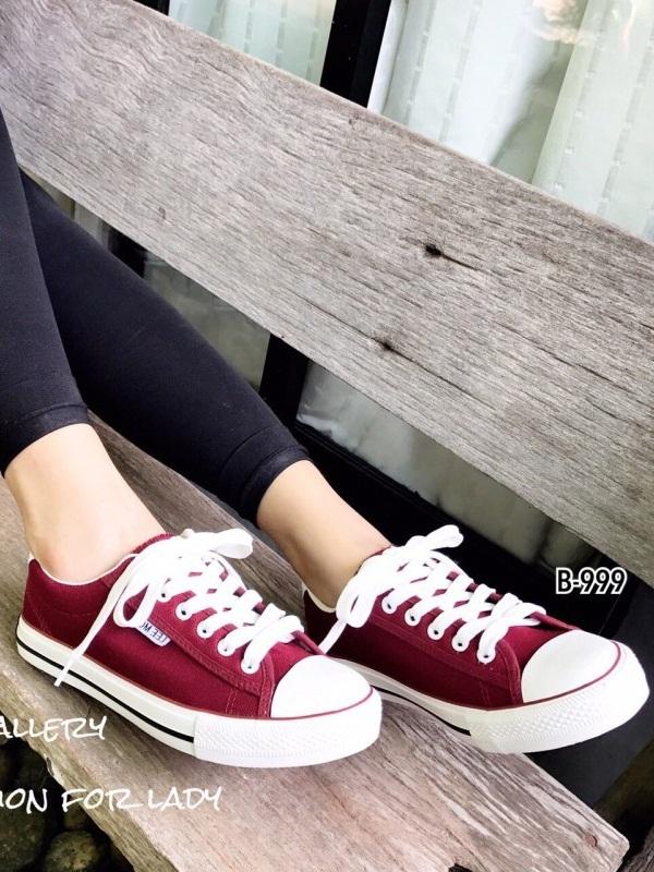 รองเท้าผ้าใบแฟชั่นสีแดง ผ้าแคนวาส รุ่นคลาสสิค (สีแดง )