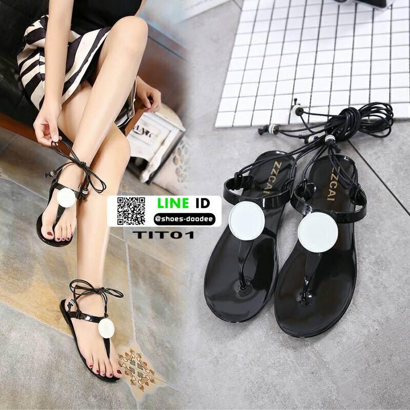 รองเท้าแตะส้นแบน jelly sandals TIT01-BLK [สีดำ]