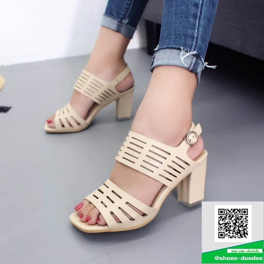 รองเท้าส้นสูงรัดส้นสีครีม สายคาดหน้าหนังนิ่มฉลุลาย (สีครีม )