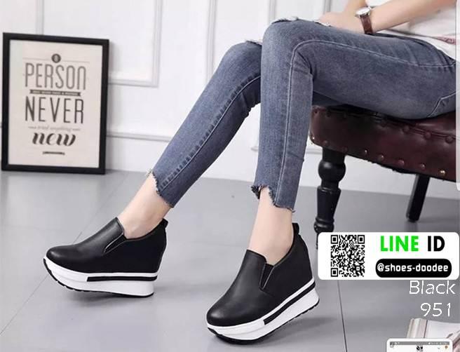 รองเท้าหนัง pu งานเกาหลี 951-ดำ [สีดำ]