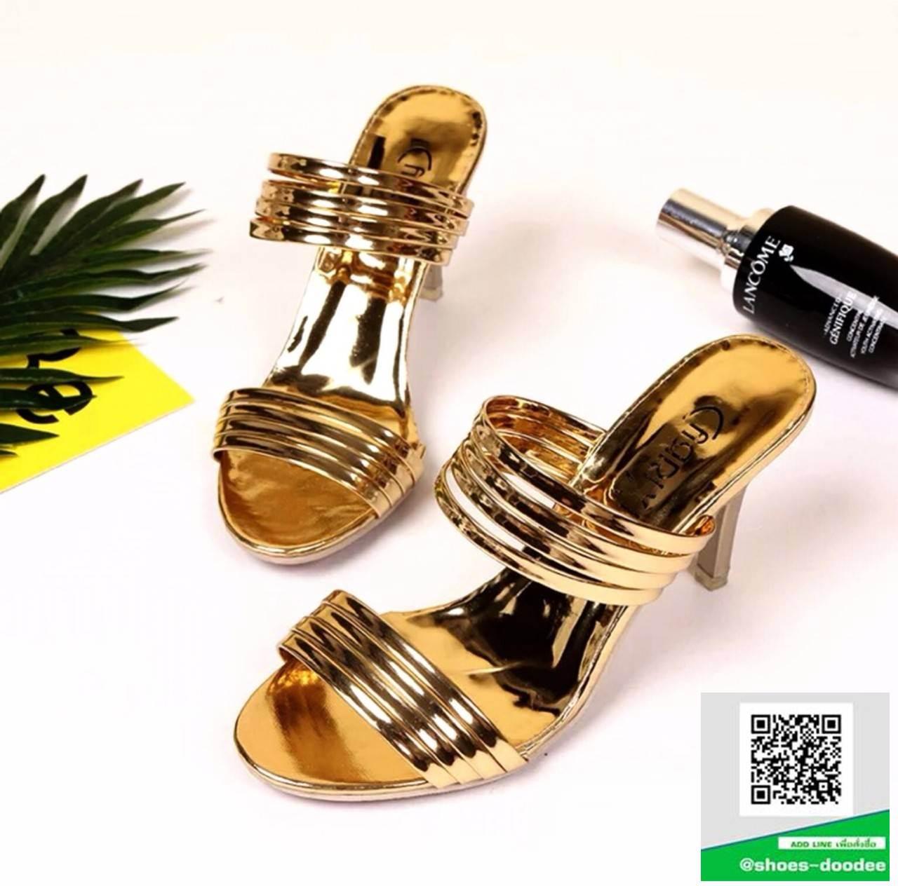 รองเท้าส้นเข็มเปิดส้นสีทอง สไตล์แบรนด์ Patricia (สีทอง )