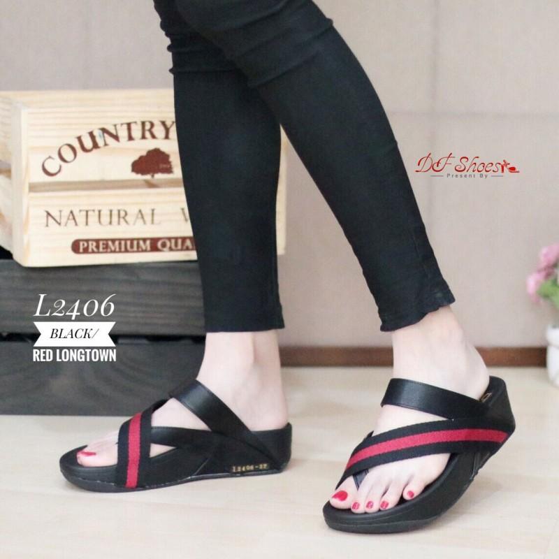 รองเท้าแตะเพื่อสุขภาพสีดำ แบบคีบนิ้วโป้ง สไตล์ FITFLOP (สีดำ )