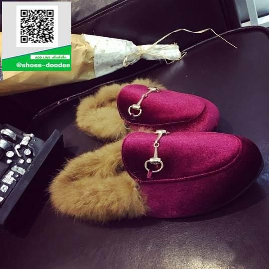 รองเท้าคัทชูเปิดส้นสีแดง สไตล์กุชชี่ (สีแดง )
