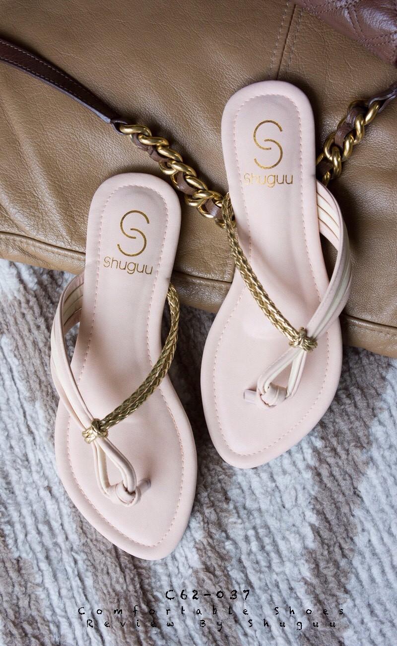 ลดล้างสต๊อก รองเท้าส้นเตี้ย C62037-PNK [สีชมพู]