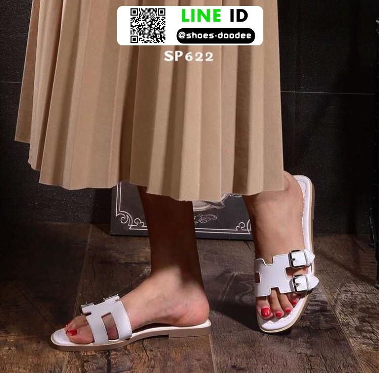 รองเท้าแตะเปิดส้น New hermes sandals SP622-WHI [สีขาว]