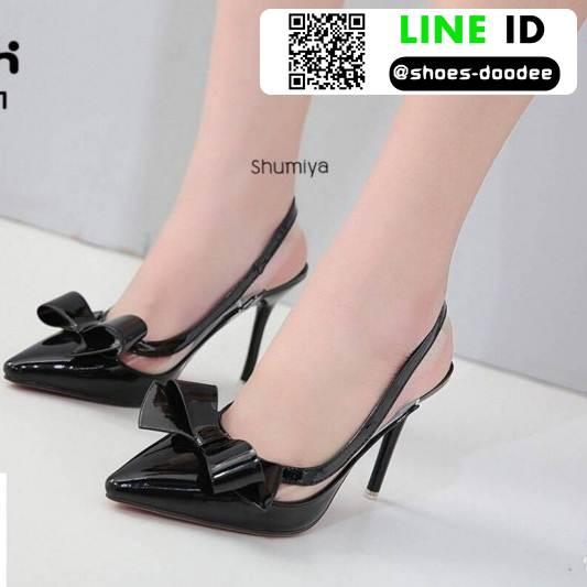 รองเท้าส้นสูงรัดส้น A9467-1-BLK [สีดำ]