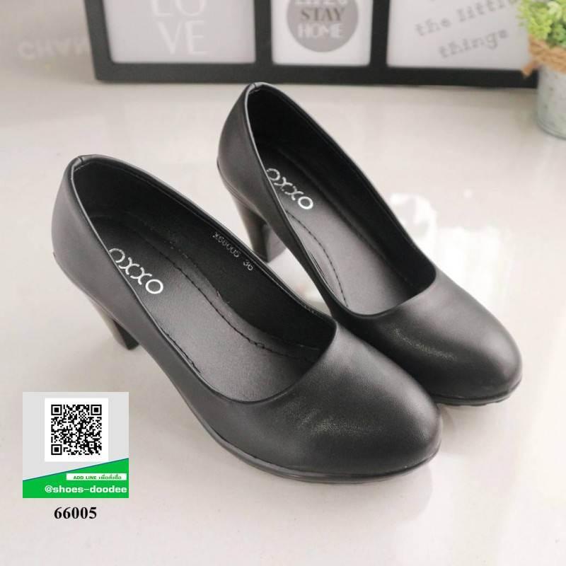 รองเท้าคัชชู ทรงน่ารัก 66005-BLACK [สีดำ]