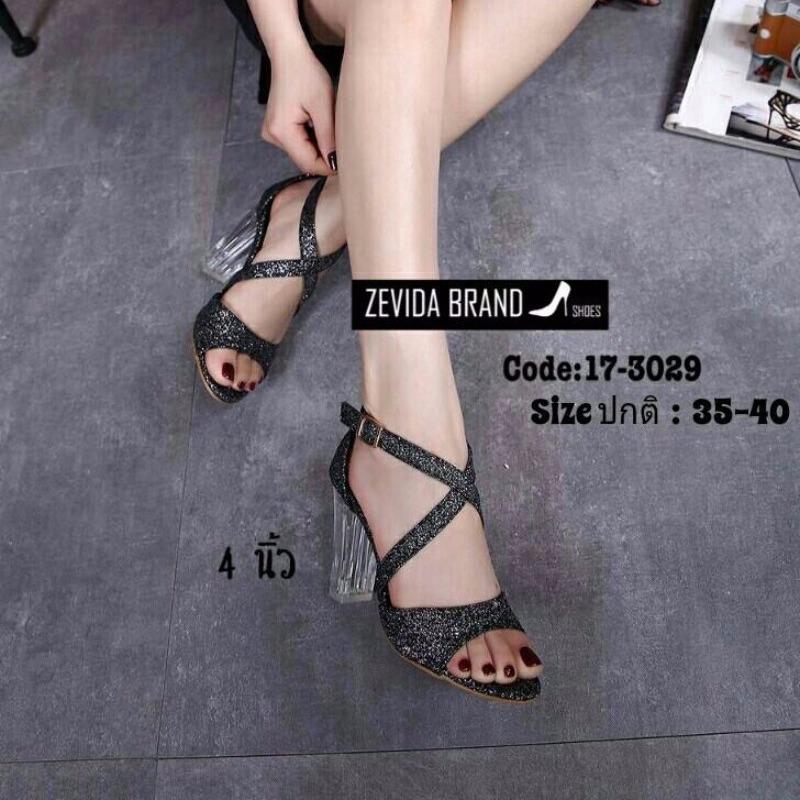 รองเท้าส้นตันรัดข้อเท้าสีดำ ผ้ากลิตเตอร์ ส้นแก้ว (สีดำ )