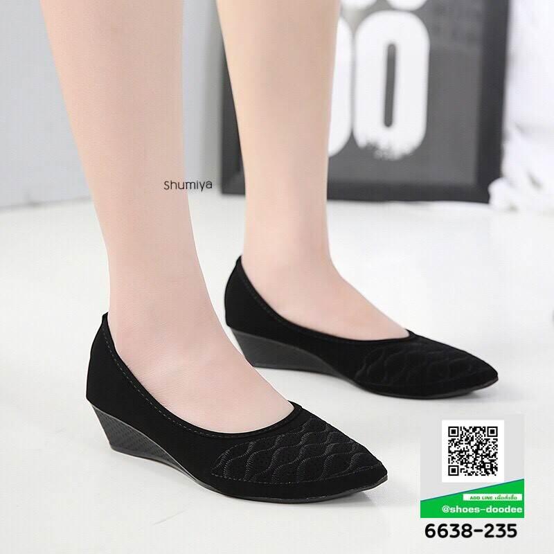 รองเท้าคัชชูดีไซน์ทรงหัวแหลมจ้าา 6638-235-BLK [สีBLK]