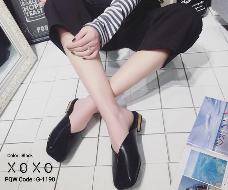 รองเท้าแตะแบบสวม หน้าตัด G-1190-BLK [สีดำ]