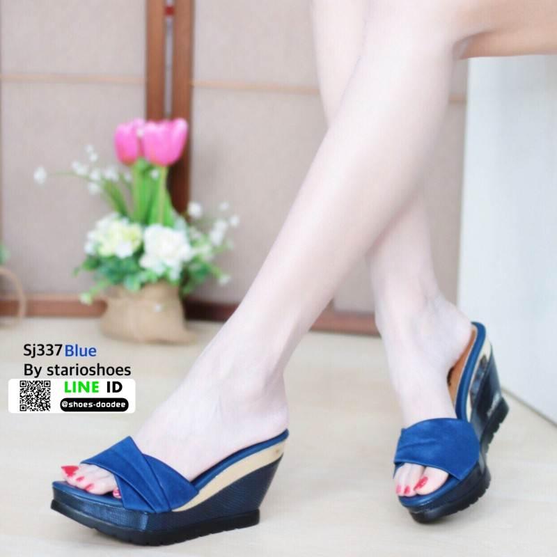 รองเท้าส้นเตารีดแบบสวม SJ337-BLU [สีน้ำเงิน]
