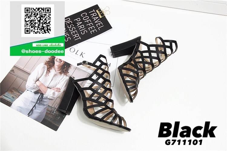 รองเท้าส้นตัน สไตล์Schutz G711101-BLK [สีดำ]