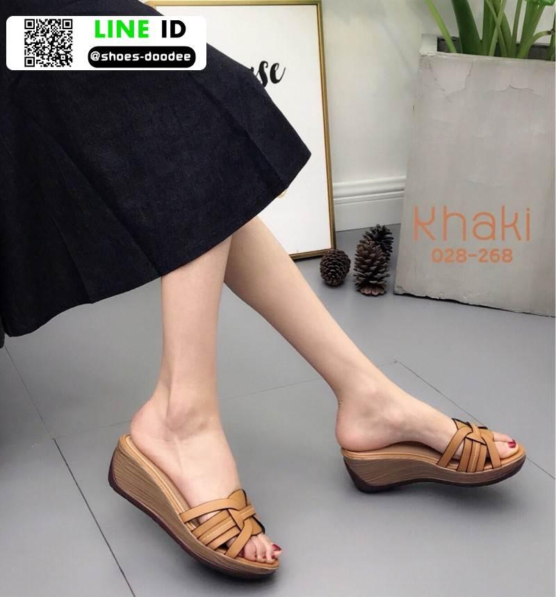 รองเท้าส้นเตารีด สไตล์เกาหลี 028-268-KHA [สีKHA]