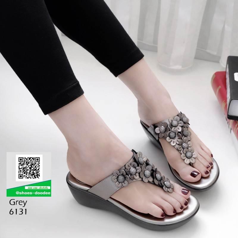 รองเท้าลำลอง แบบหูคีบหนังนิ่ม 6131-เทา [สีเทา]
