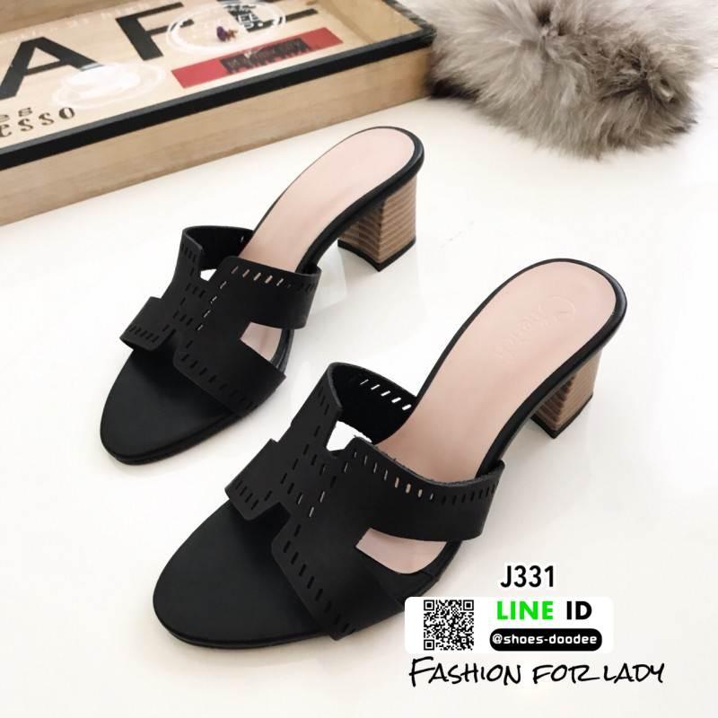 รองเท้าแตะสไตล์H ส้นเหลี่ยม J331-ดำ [สีดำ]