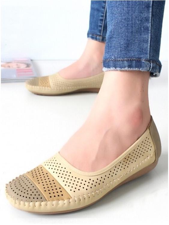 รองเท้าคัชชู สไตล์สุขภาพ หนังนิ่ม (สีครีม )