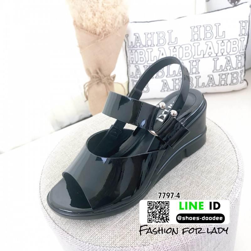 รองเท้าส้นเตารีดรัดข้อ หนังเงา 7797-4-ดำ [สีดำ]