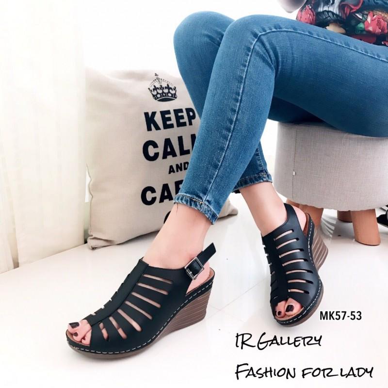 รองเท้าส้นเตารีดรัดส้นสีดำ หนังนิ่ม พื้นนิ่ม (สีดำ )