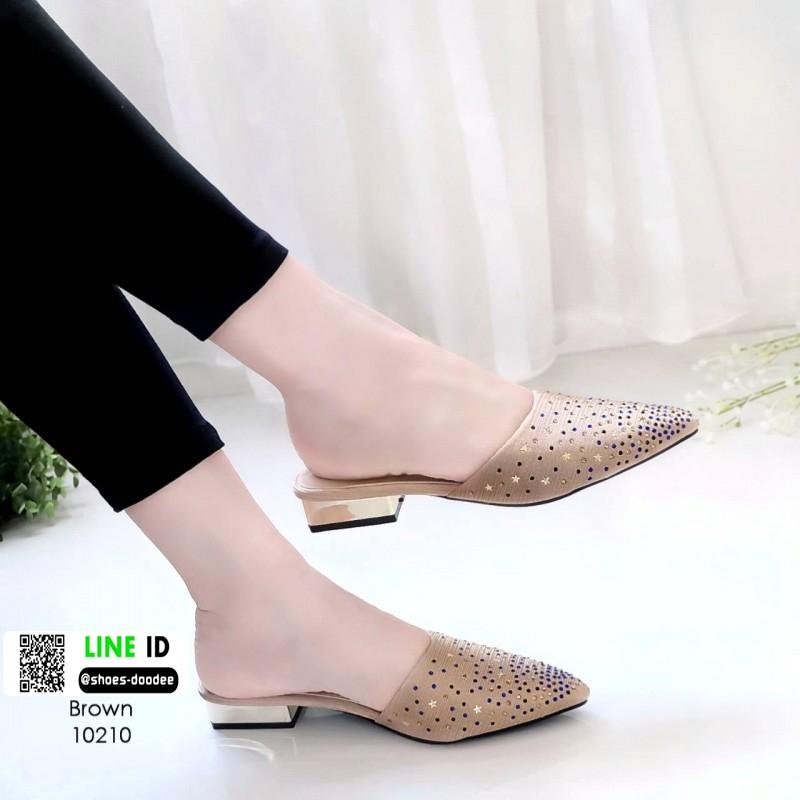 รองเท้าหัวแหลม ส้นทอง สไตล์ซาร่าห์ 10210-น้ำตาล [สีน้ำตาล ]
