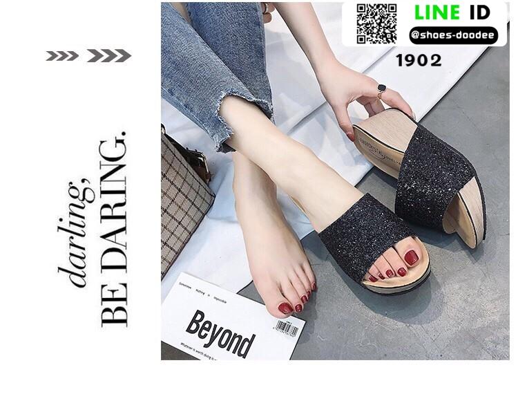 รองเท้าส้นเตารีด หน้าสวม กากเพชร 1902-BLK [สีดำ]