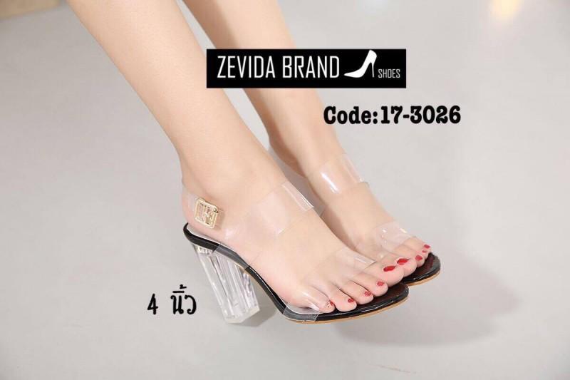 รองเท้าส้นสูงแฟชั่นสีดำ รัดข้อเท้า ส้นแก้ว สไตล์เกาหลี (สีดำ )