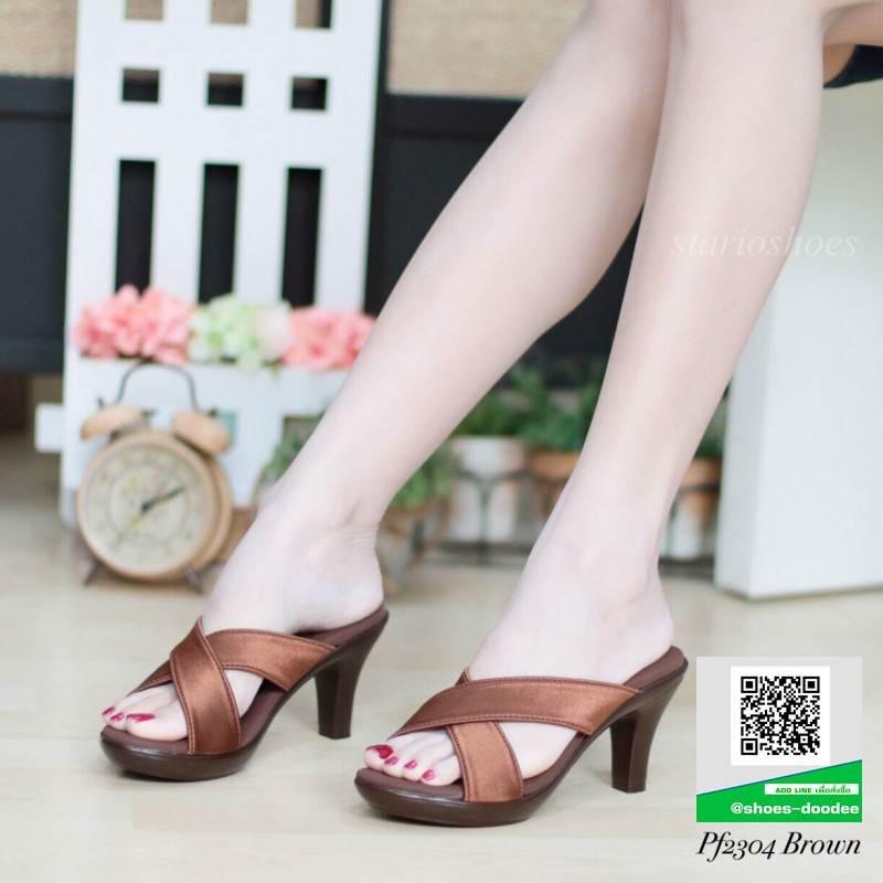 รองเท้าส้นสูงแบบสวม PF2304-BWN [สีน้ำตาล]