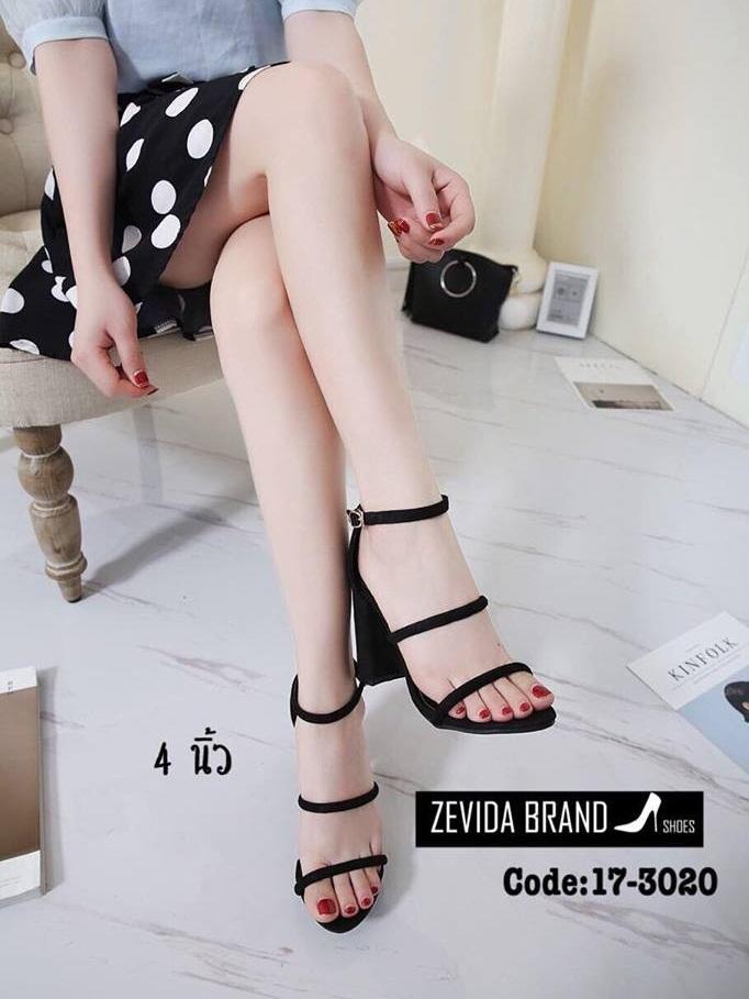 รองเท้าส้นสูงรัดส้น ผ้าสักหราด สไตล์เกาหลี (สีดำ )