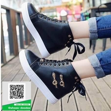 รองเท้าผ้าใบหุ้มข้อสีดำ ทรงหัวมน (สีดำ )