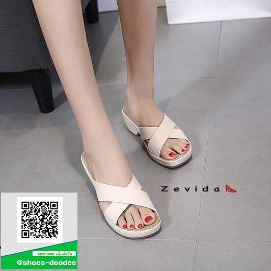 รองเท้าแตะเพื่อสุขภาพสีครีม คาดหน้าทรงกากบาท (สีครีม )