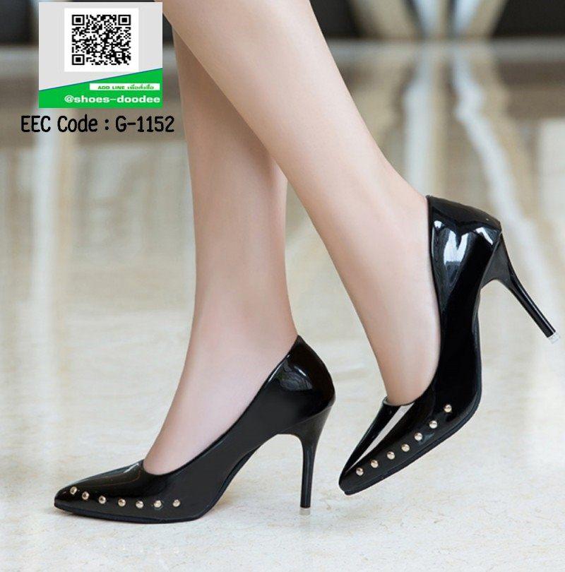 รองเท้าคัทชูส้นสูงสีดำ หัวแหลม แต่งหมุด (สีดำ )