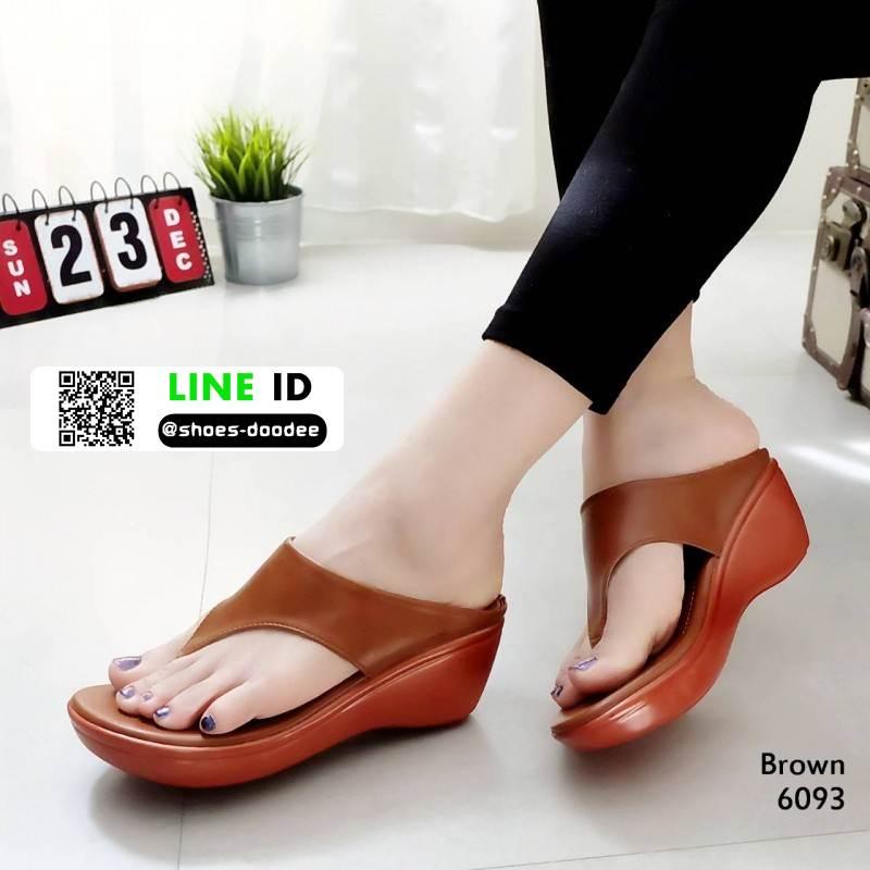 รองเท้าเตารีด หูคีบ ส้น pu ทรงสวย พื้นนิ่ม 6093-น้ำตาล [สีน้ำตาล ]