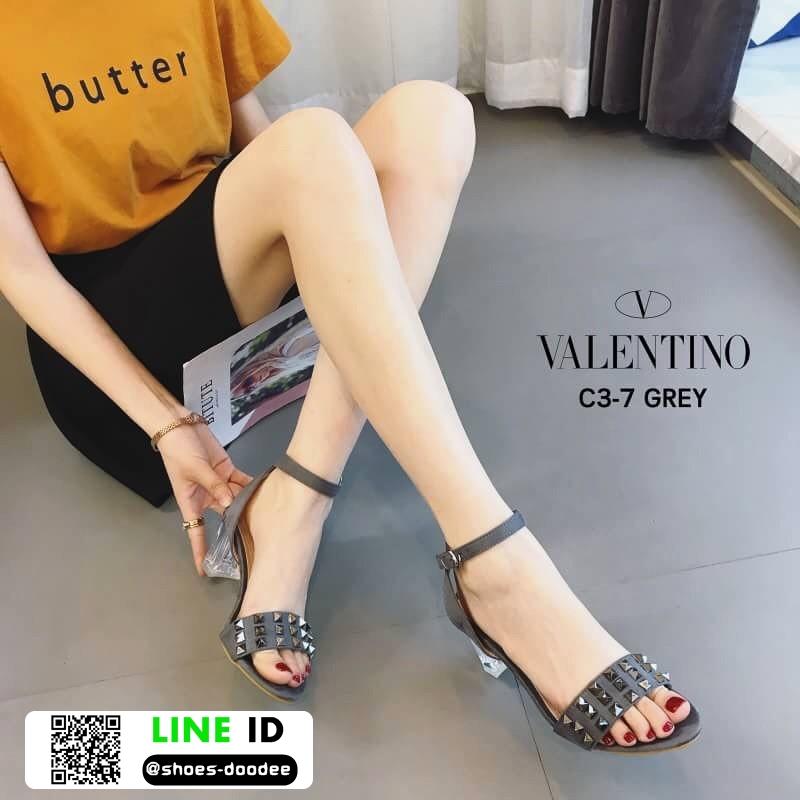 รองเท้าส้นสูงรัดข้อ สไตล์valentino ส้นแก้ว C3-7-GRY [สีเทา]