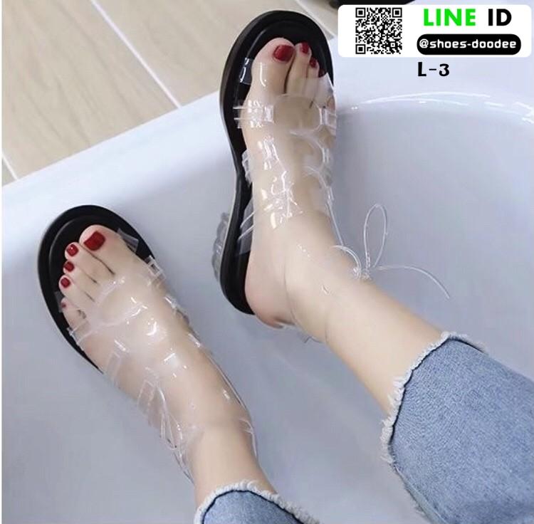 รองเท้าลำลองรัดส้น งานน่ารัก L-3-BLK [สีดำ]